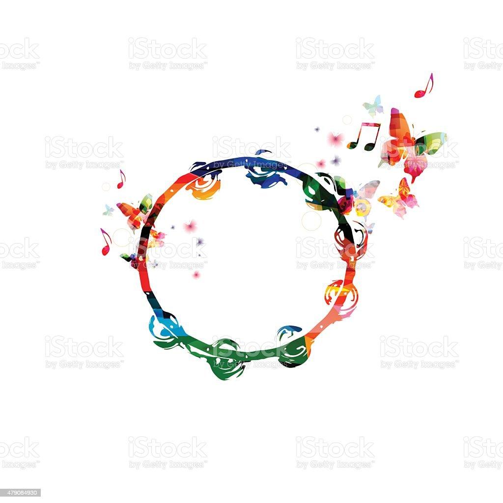 Colorful tambourine background vector art illustration