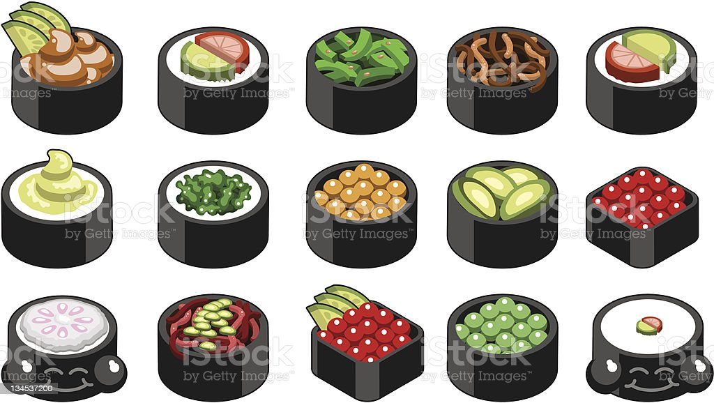 colorful tasty sushi collection (vector) royalty-free stock vector art