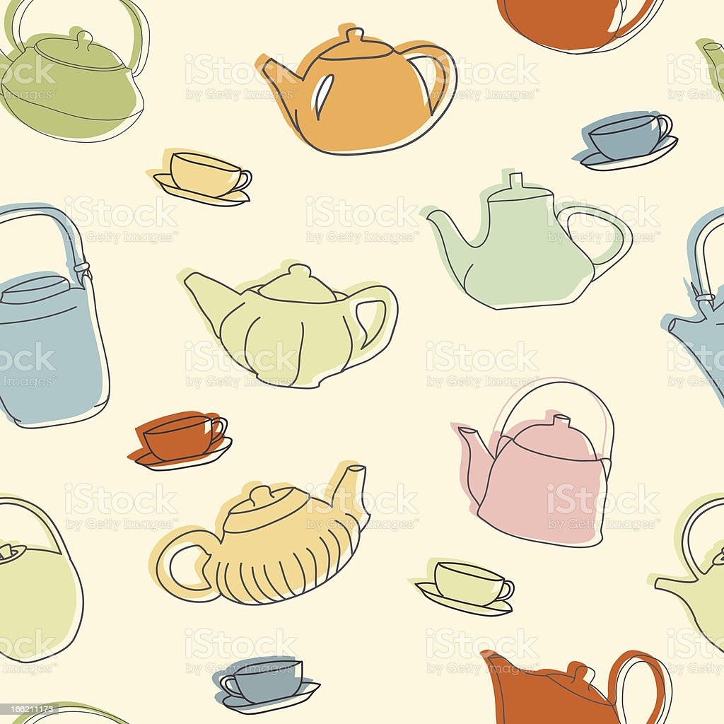 Colorful teapots seamless pattern royalty-free stock vector art