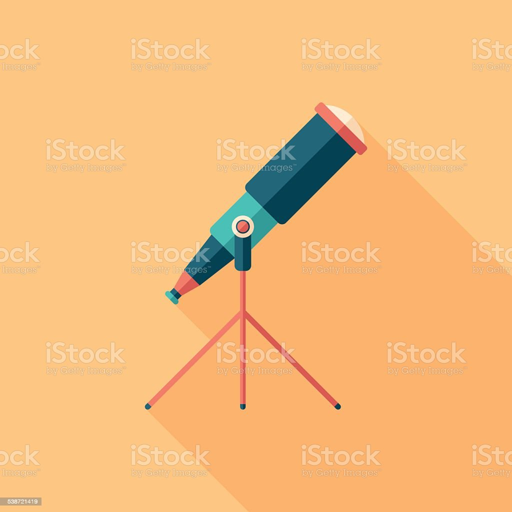 Colorful telescope flat square icon with long shadows. vector art illustration