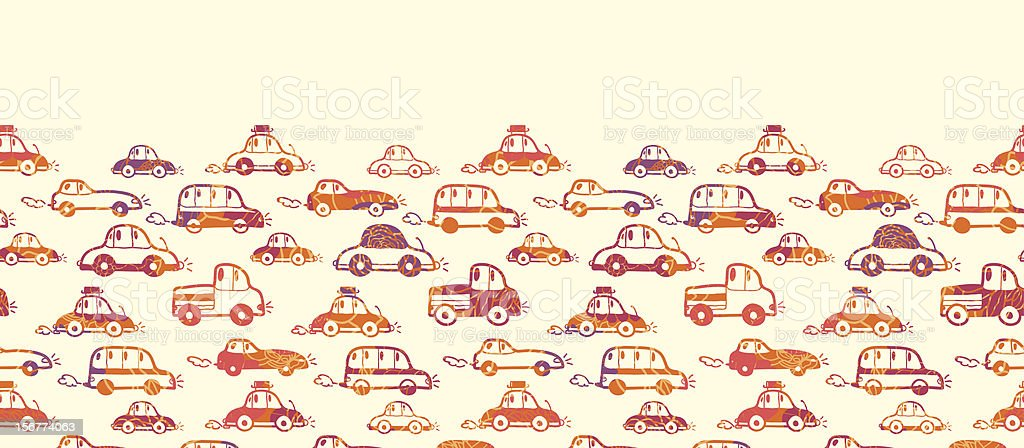 Colorful Textured Cars Horizontal Seamless Pattern Ornament royalty-free stock vector art