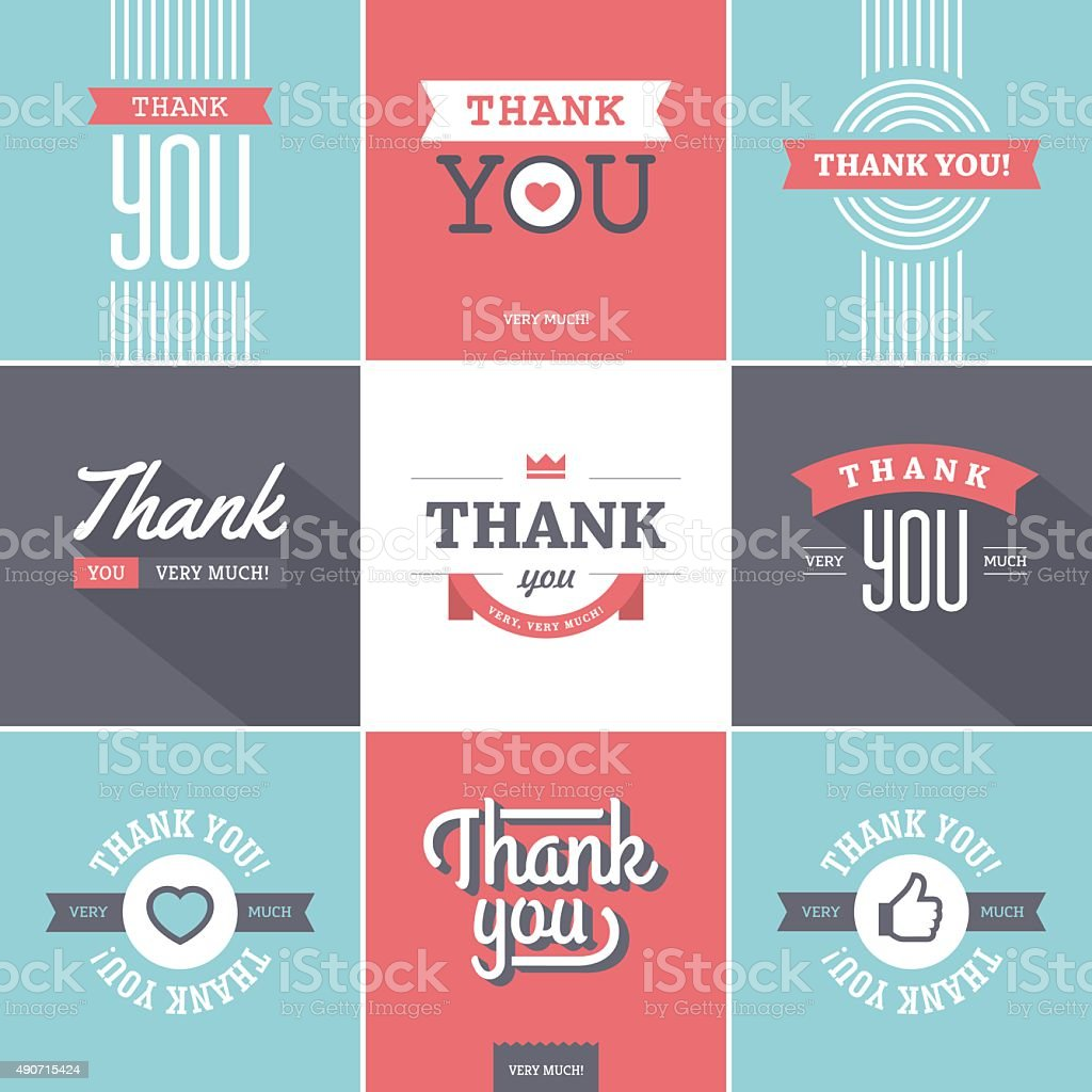 Colorful Thank you Cards vector art illustration