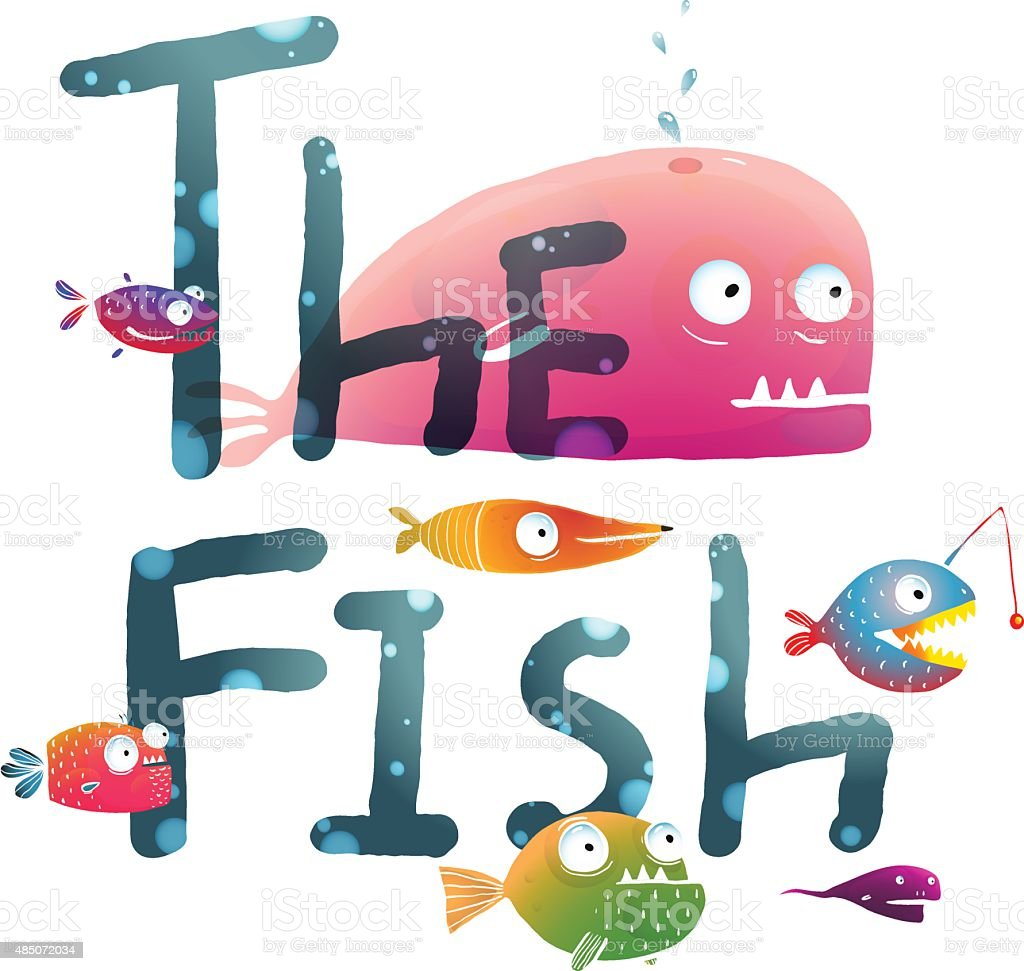 Colorful The Fish Sign Underwater vector art illustration