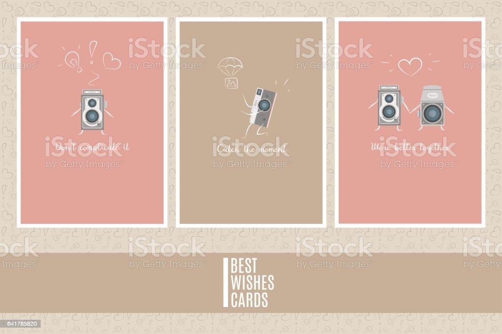 Colorful three vector cards templates. Best wishes cards. Retro camera doodle. vector art illustration