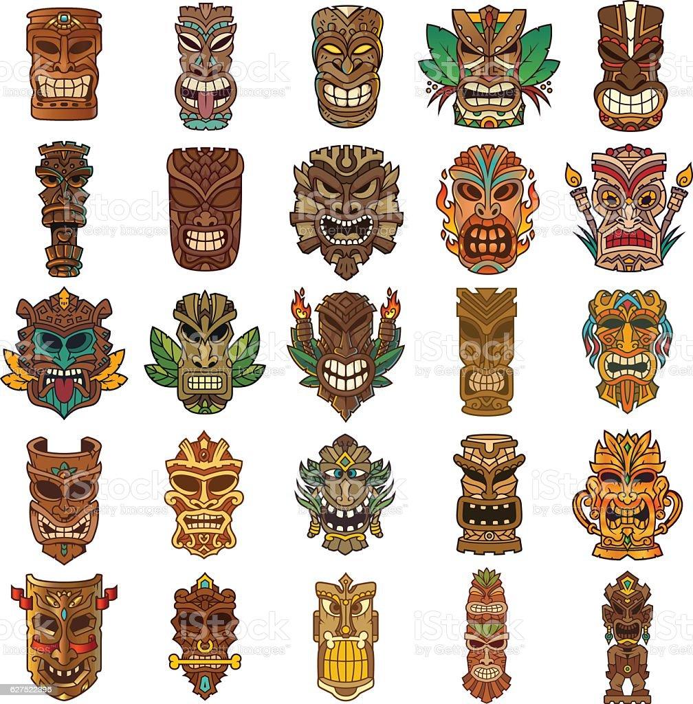 Colorful Tiki Head Design Set vector art illustration