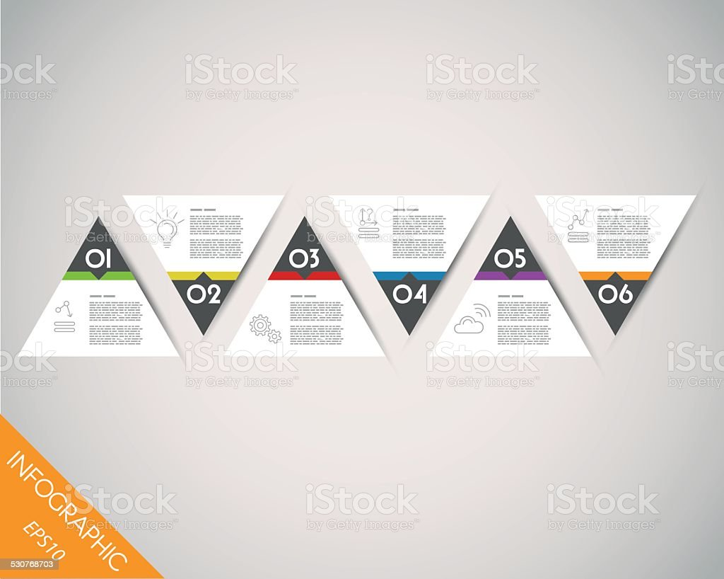 colorful timeline from triangles vector art illustration