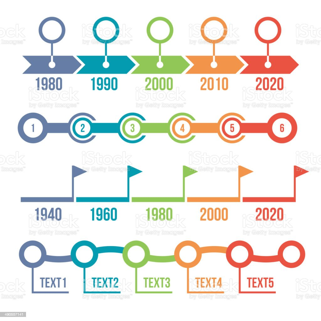 Colorful Timeline Infographic Set royalty-free stock vector art