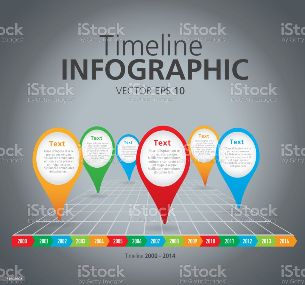 Colorful Timeline infographic with graph comparison vector art illustration