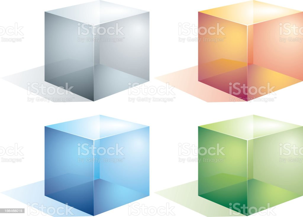 Colorful transparent cubes with shadows vector art illustration