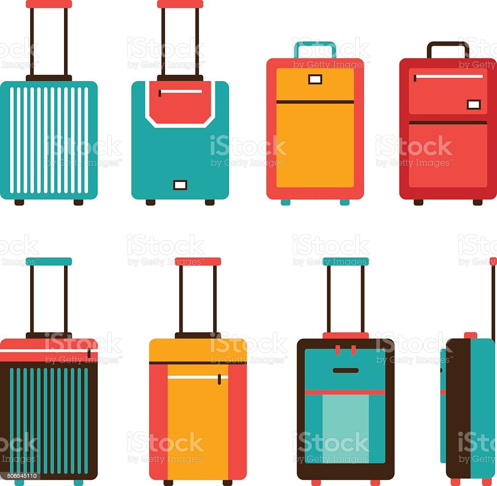 Colorful travel bag icon set Carry on luggage collection vector art illustration