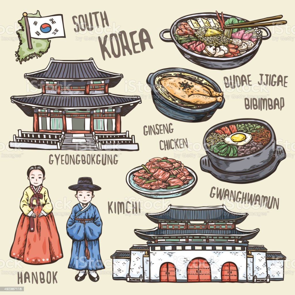 colorful travel concept of south Korea vector art illustration