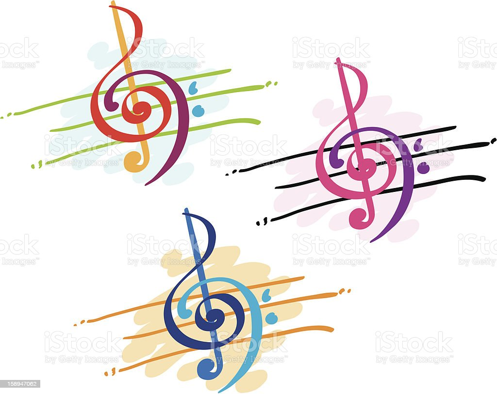 Colorful Treble and Bass Clefs vector art illustration
