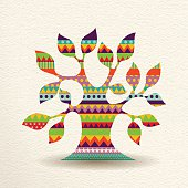 Colorful Tree design in fun geometric shape style