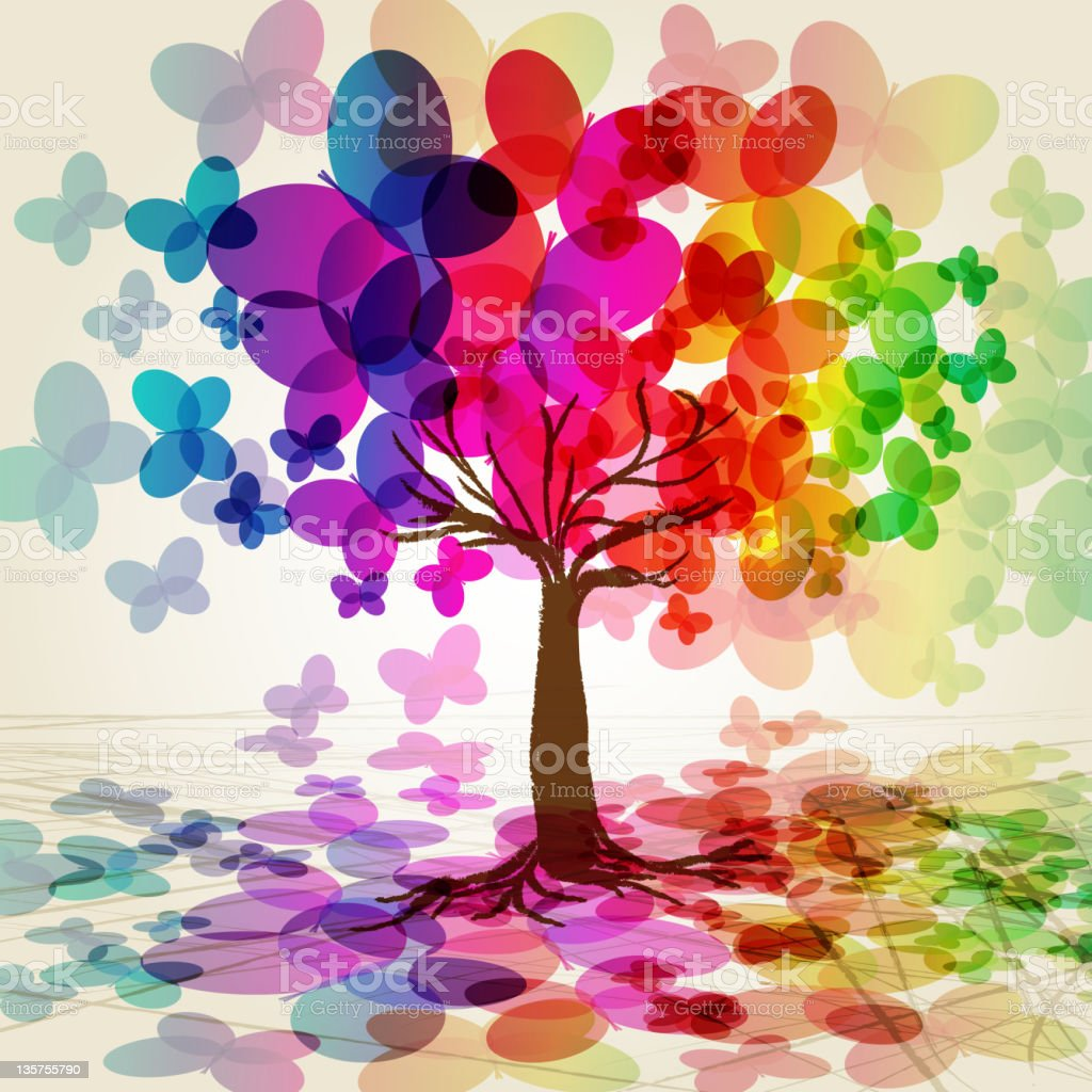 Colorful tree made of butterflies vector art illustration