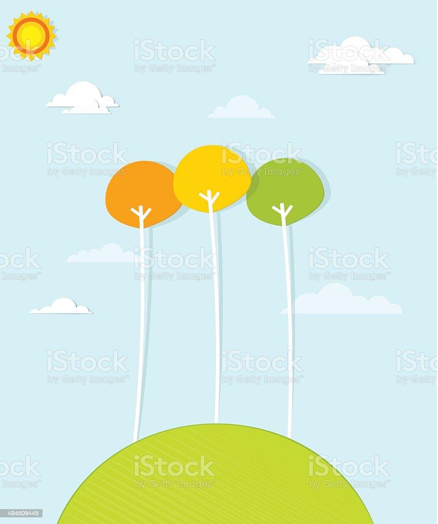 Coloré des arbres sur une colline verdoyante stock vecteur libres de droits libre de droits