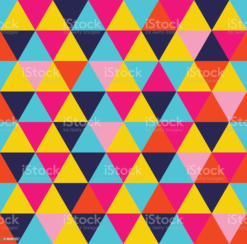 Colorful triangle geometric seamless pattern vector art illustration