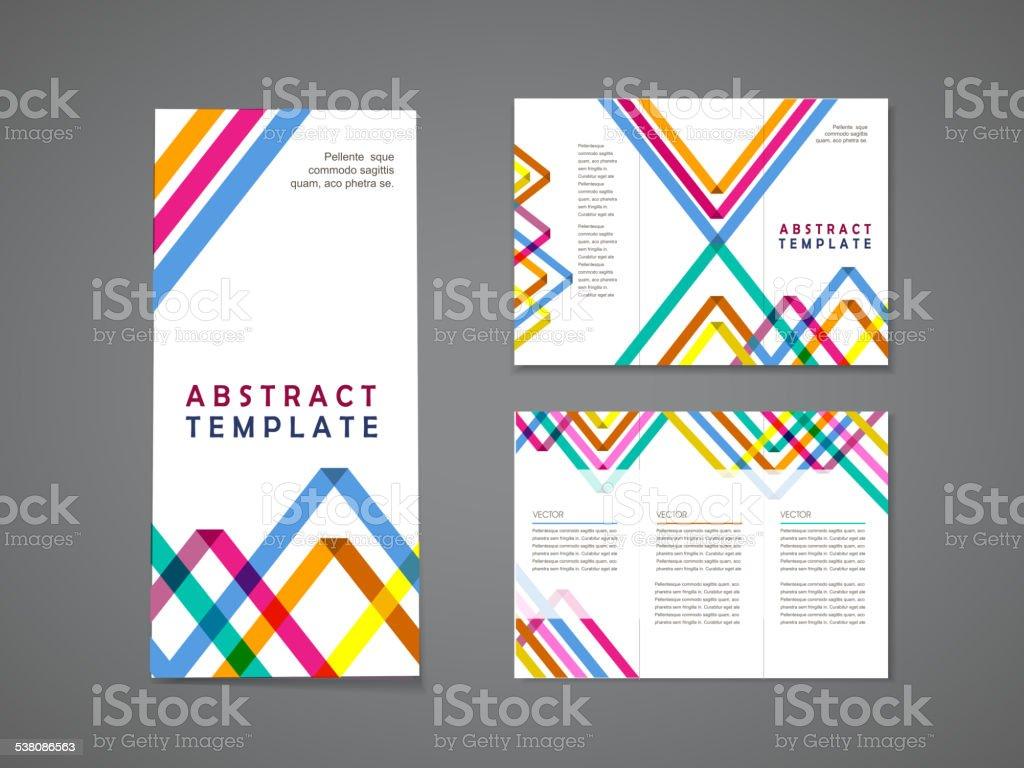 colorful triangle pattern background tri fold brochure vector art illustration