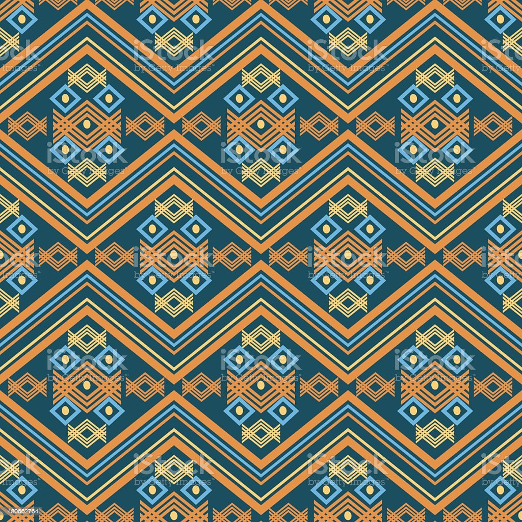 Colorful tribal seamless pattern. Aztec geometric print vector art illustration
