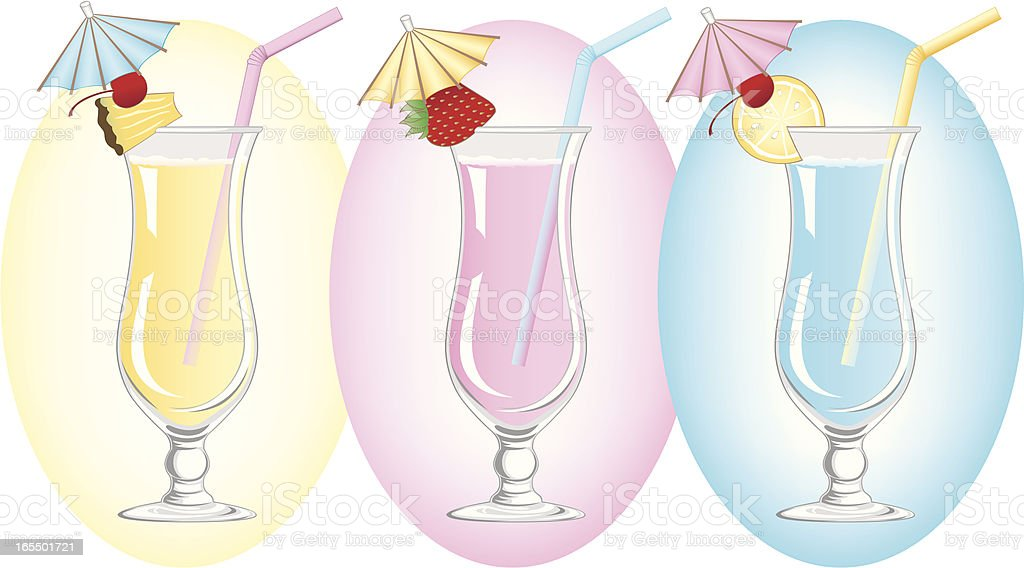 Colorful Tropical Umbrella Drinks vector art illustration