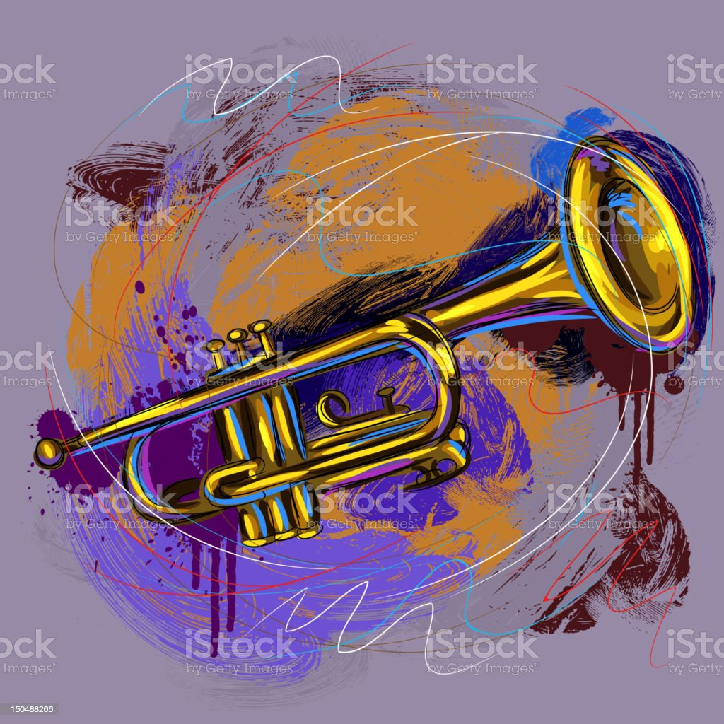 Colorful Trumpet vector art illustration