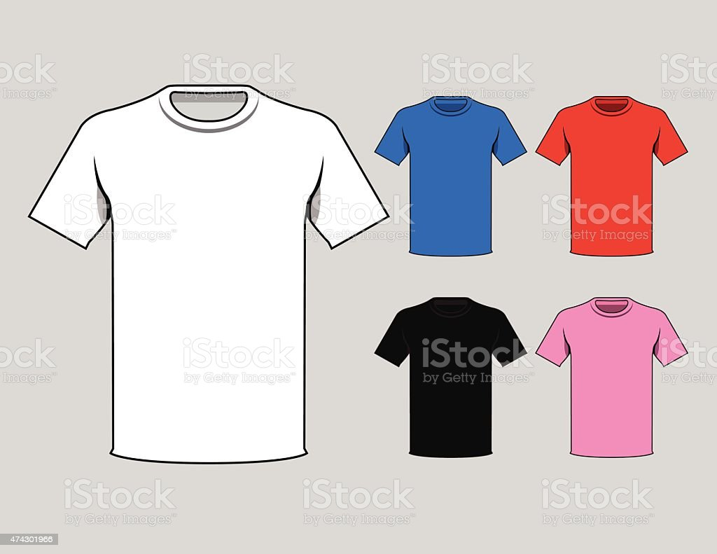 Colorful t-shirts template vector art illustration