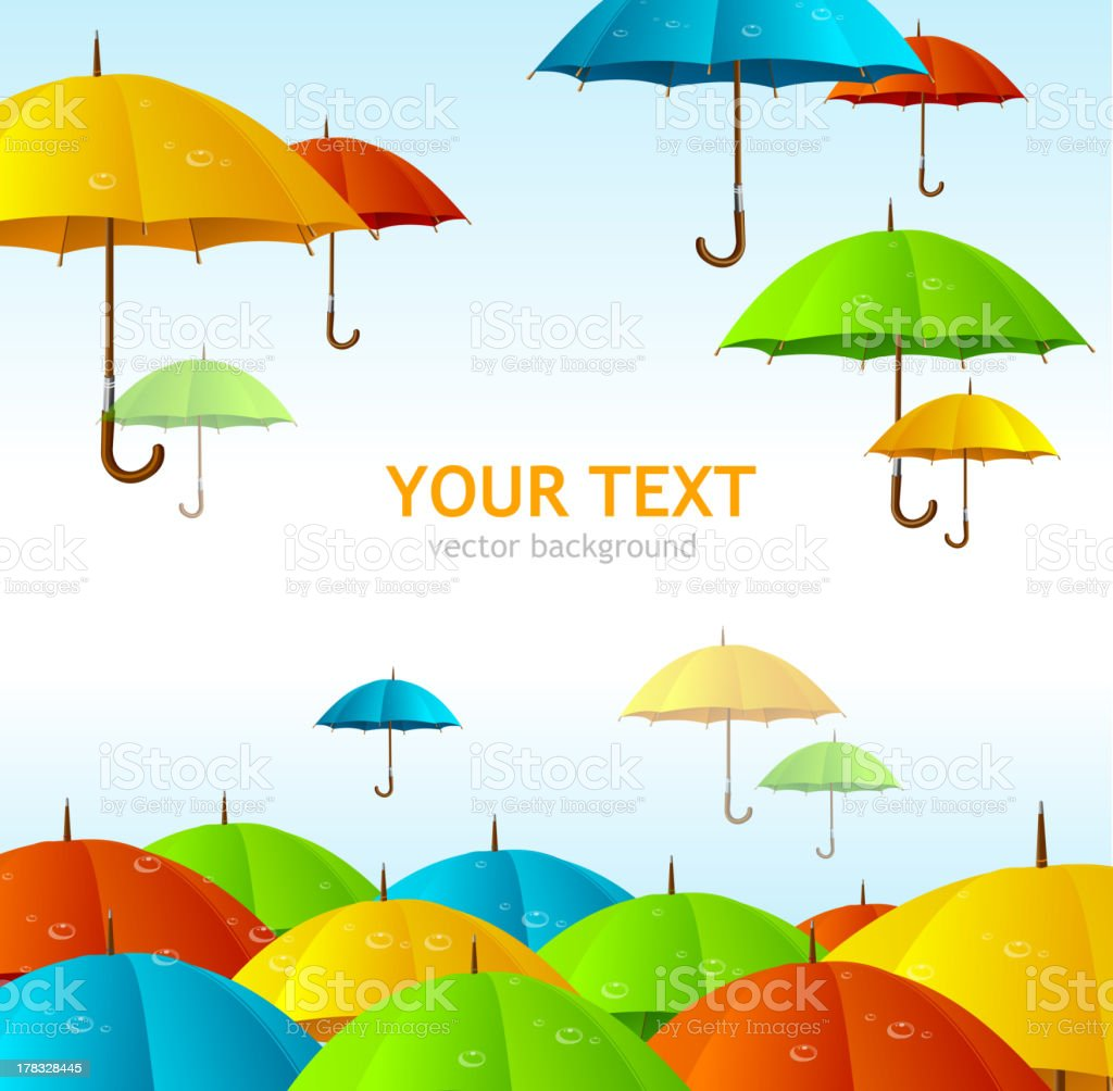 Colorful umbrellas flying high vector art illustration