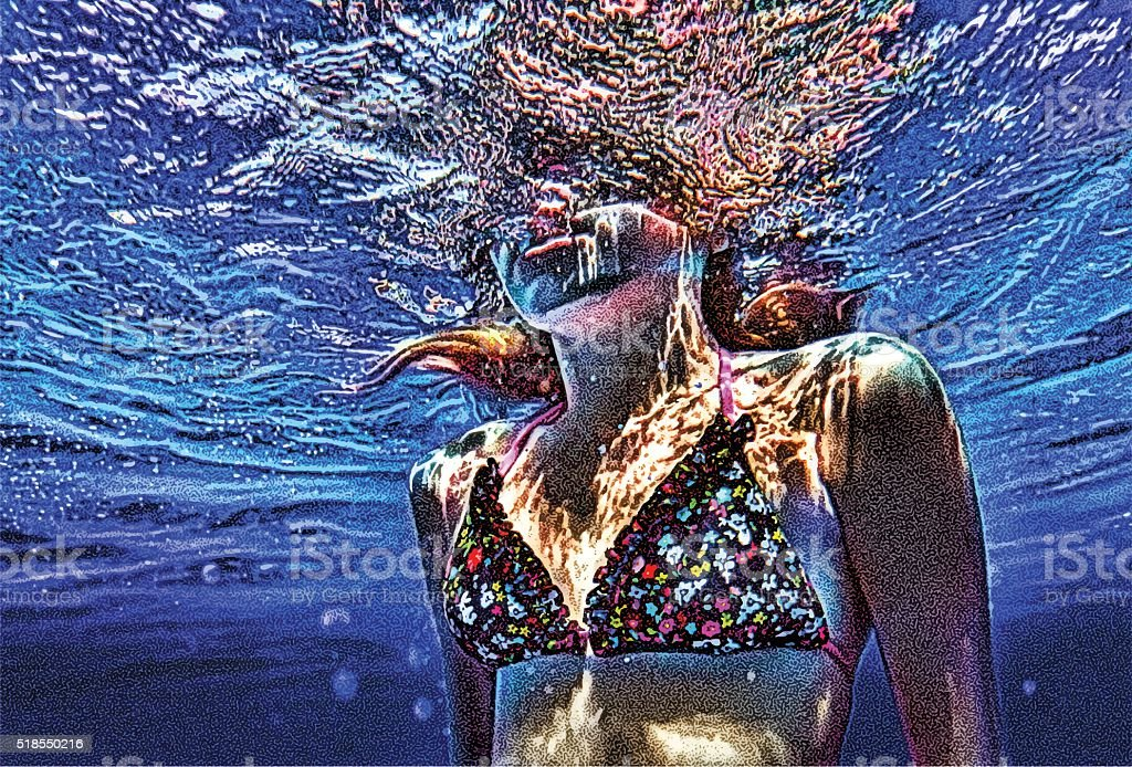 Colorful Underwater close up of young woman swimming vector art illustration