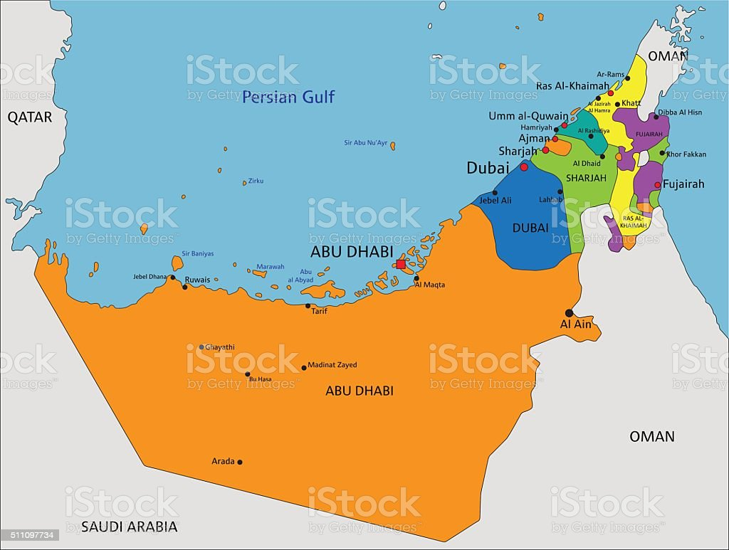 Colorful United Arab Emirates political map with clearly labeled. vector art illustration