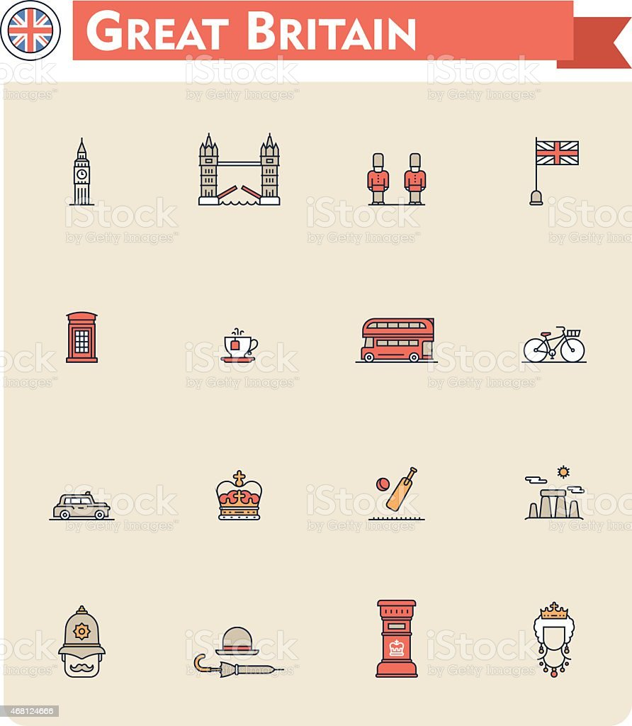 Colorful United Kingdom travel and tourism icon set vector art illustration