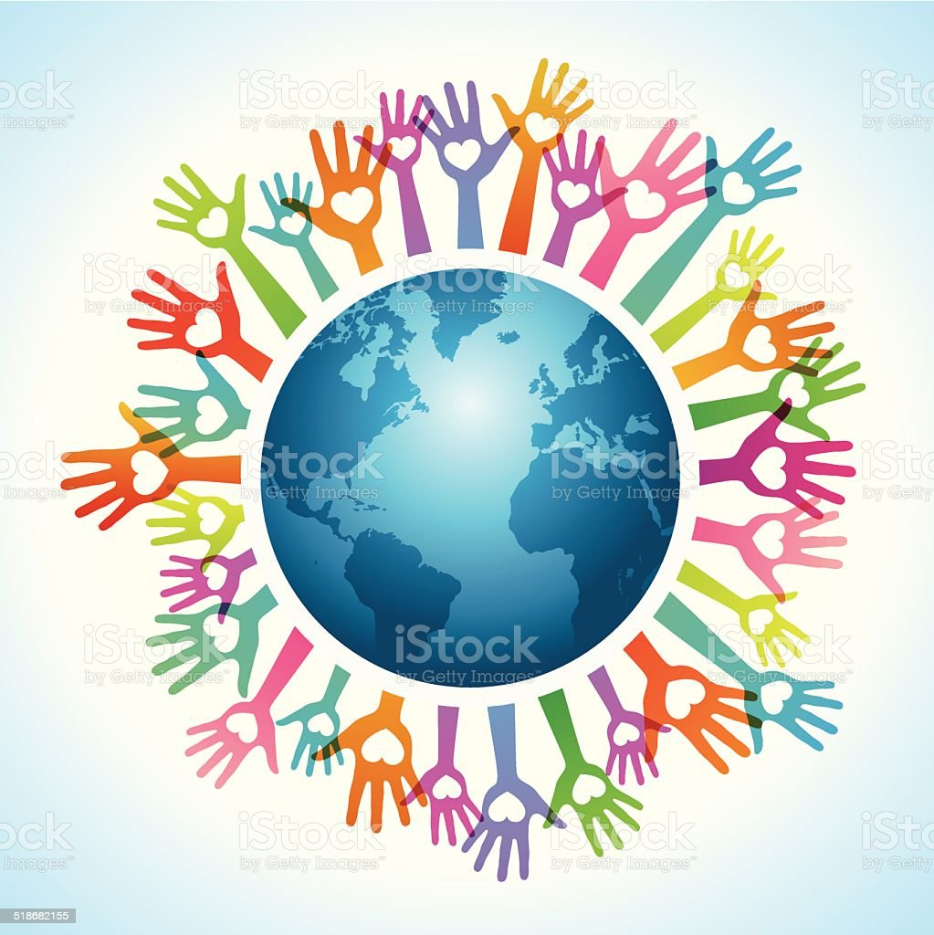 Colorful up hands around the world vector art illustration