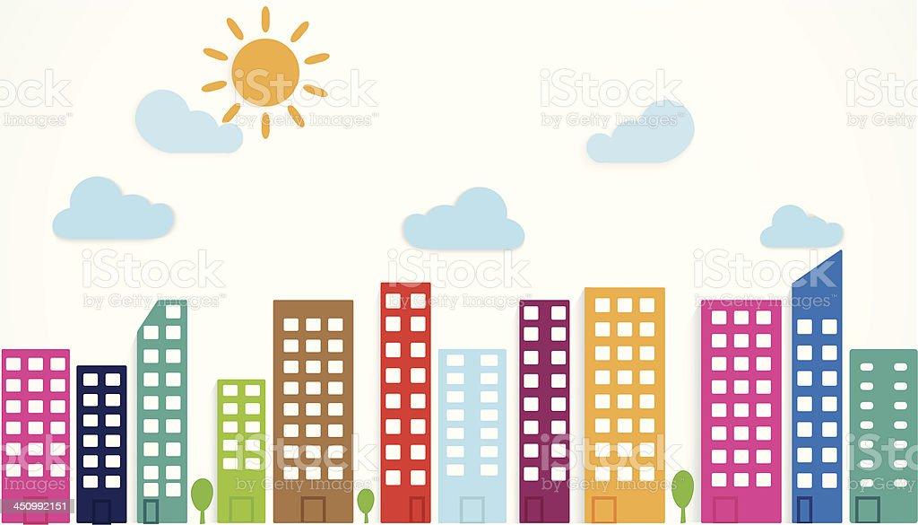 colorful urban scene royalty-free stock vector art