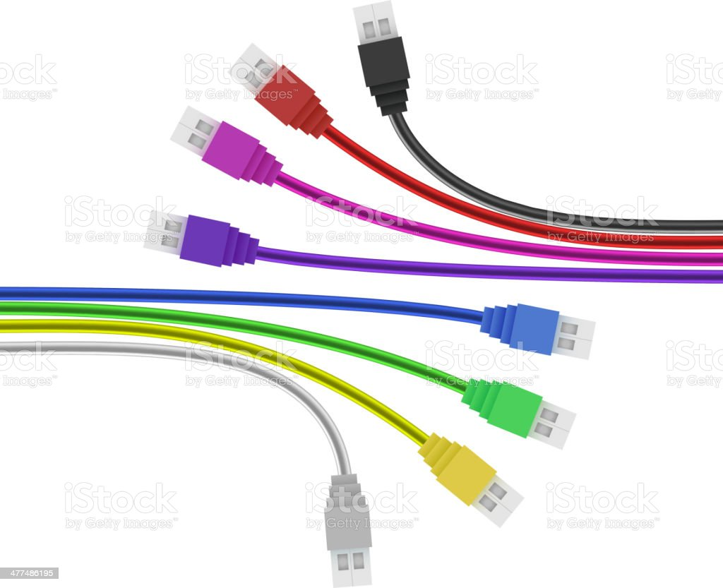 Colorful USB Plugs isolated on white. Vector vector art illustration