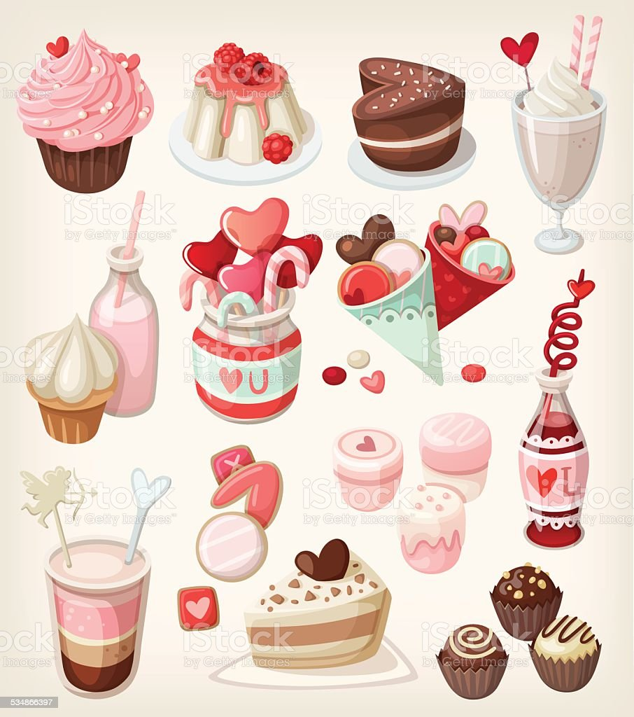 Colorful valentine food vector art illustration