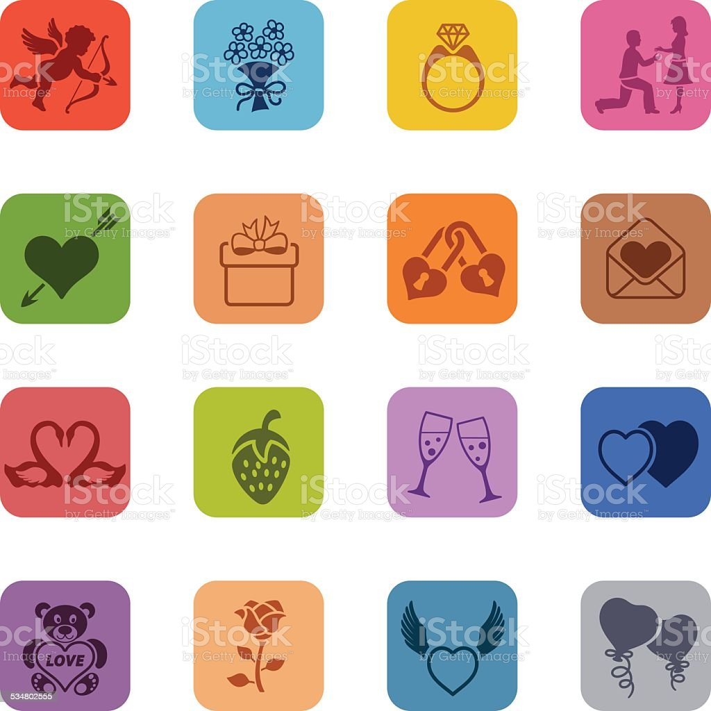 Colorful Valentine's Day Icon Set vector art illustration