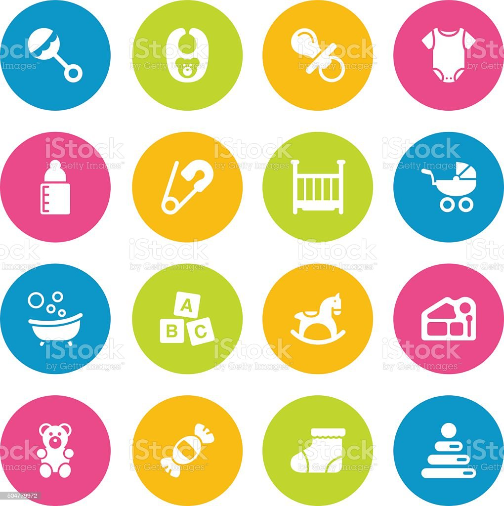 Colorful Vector Baby - 16 Icons vector art illustration