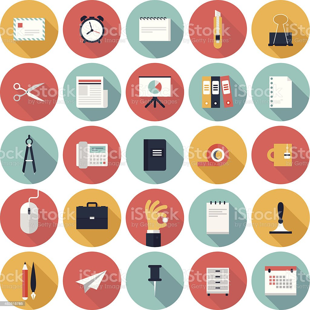Colorful vector business office flat icon set vector art illustration