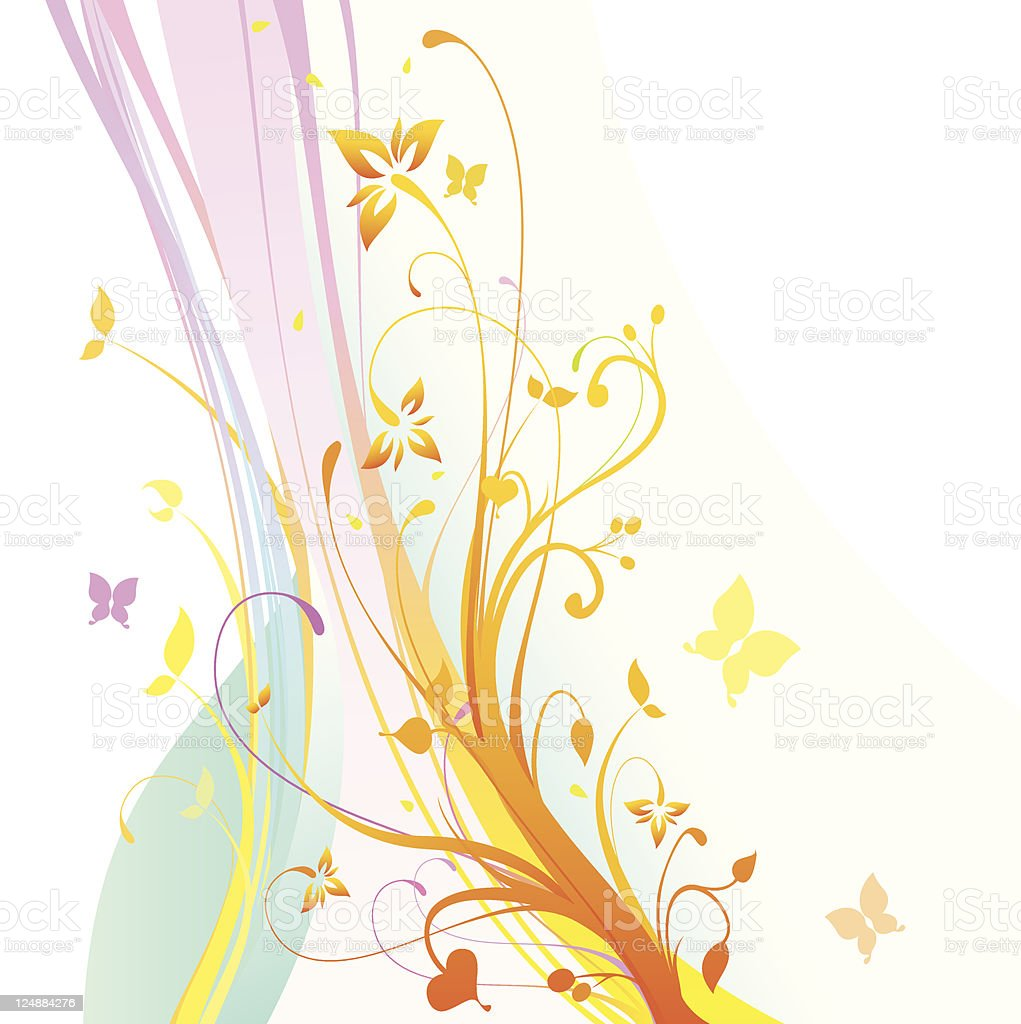 Colorful Vector Flowers Floral Ornament White Background royalty-free stock vector art