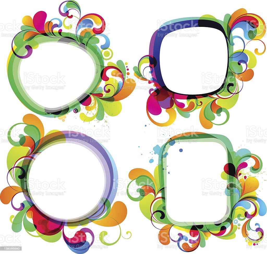 Colorful vector frames set vector art illustration
