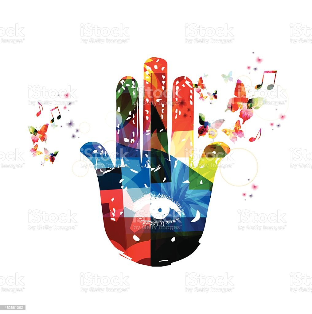 Colorful vector hamsa hand symbol background with butterflies vector art illustration