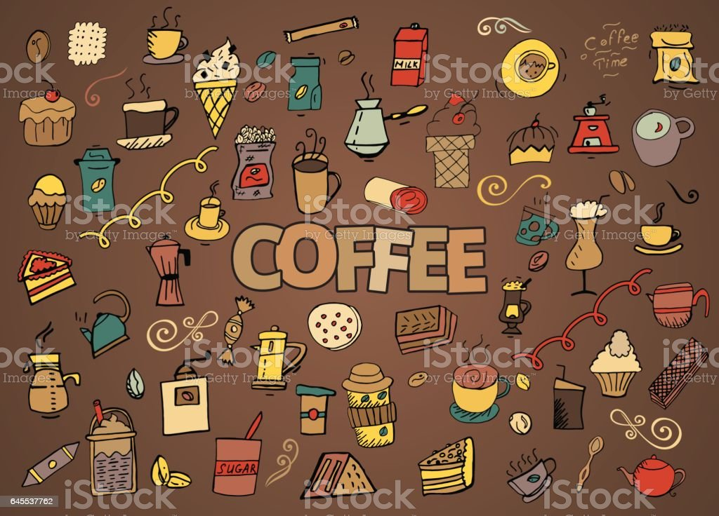 Colorful vector hand drawn Doodle cartoon set of objects and symbols on the coffee time theme vector art illustration