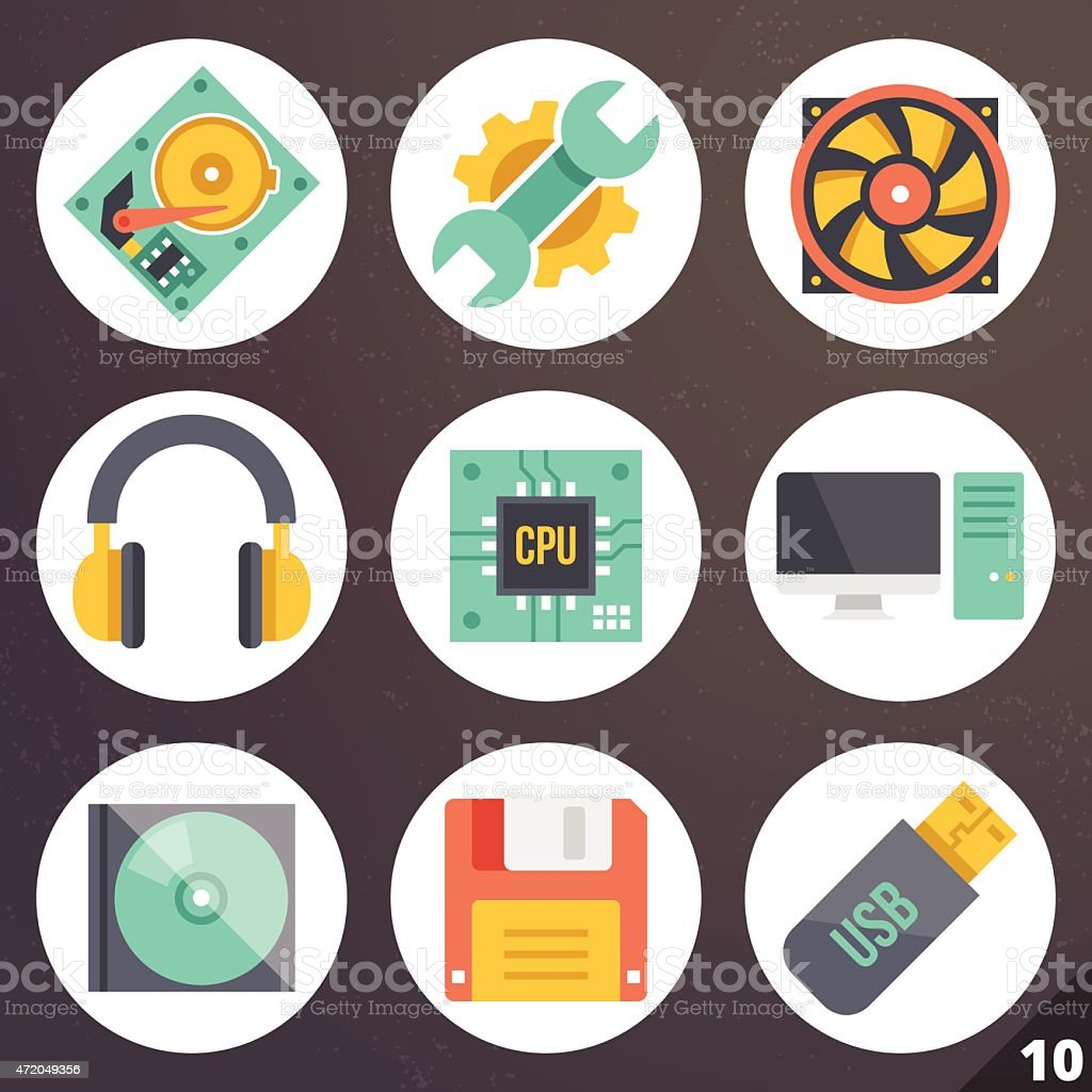 Colorful vector icons for web and mobile applications. Set 10 vector art illustration