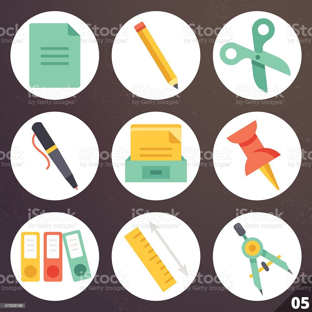 Colorful vector icons for web and mobile applications. Set 5 vector art illustration