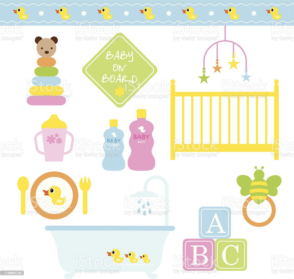 Colorful vector illustration of baby products vector art illustration