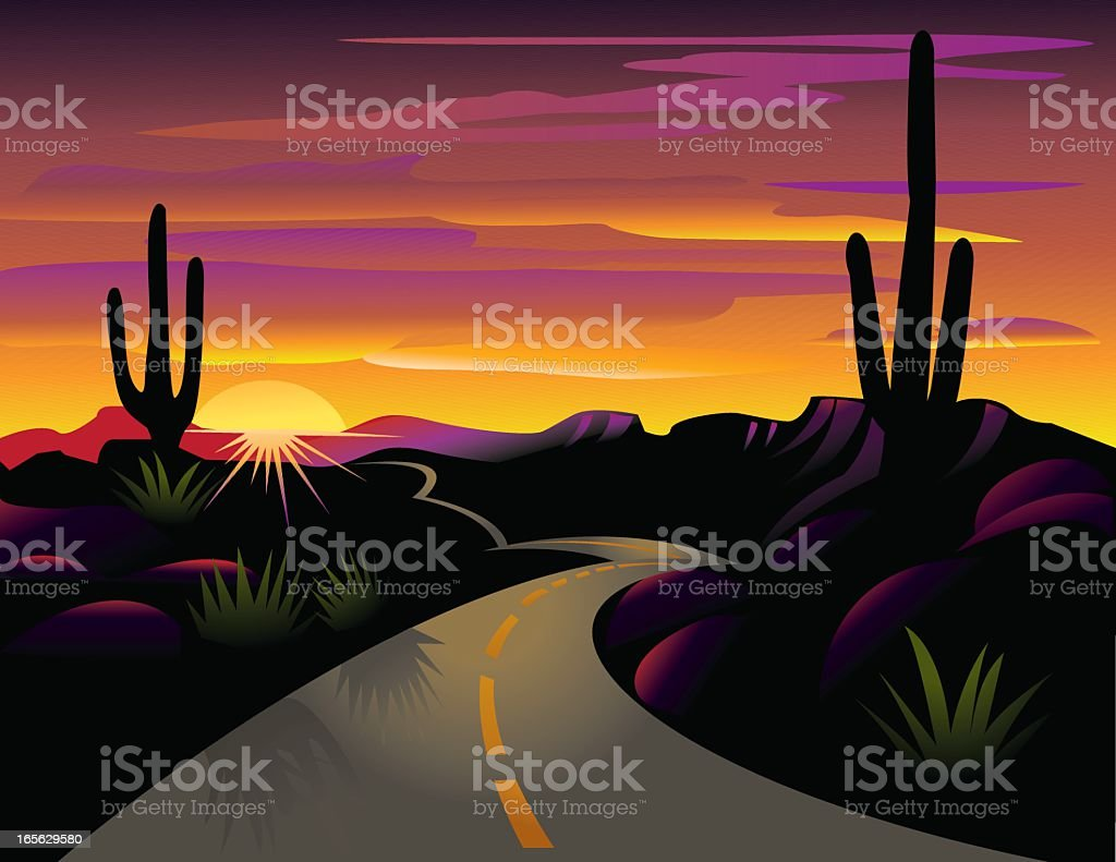 Colorful vector illustration of cacti and desert highway royalty-free stock vector art