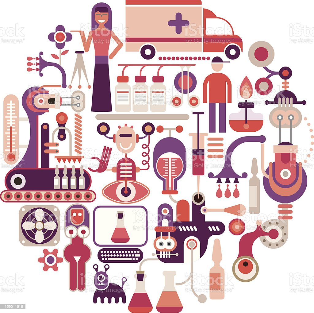 Colorful vector illustration of pharmaceutical factory icons royalty-free stock vector art