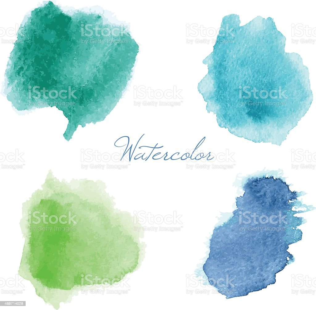 Colorful vector isolated watercolor paint stamps. - Illustration vector art illustration