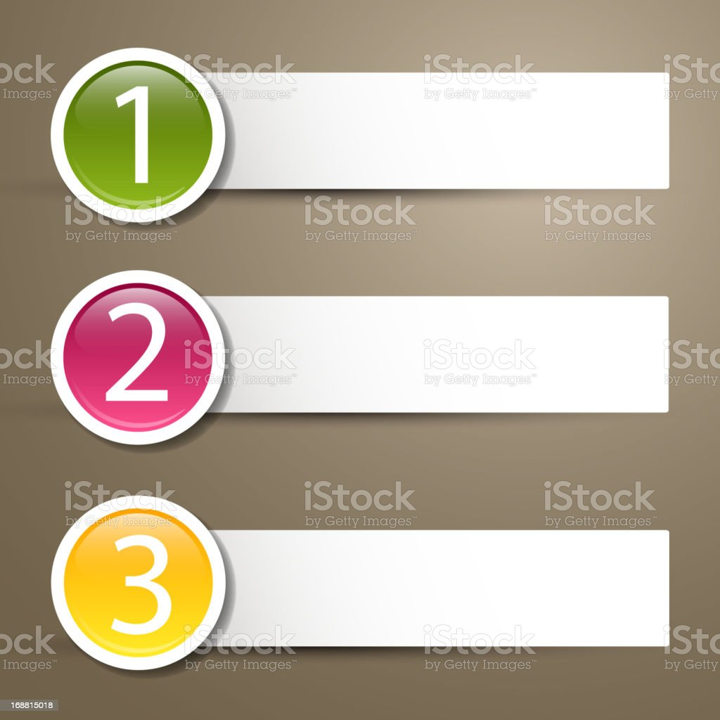 Colorful vector labels with numbers vector art illustration
