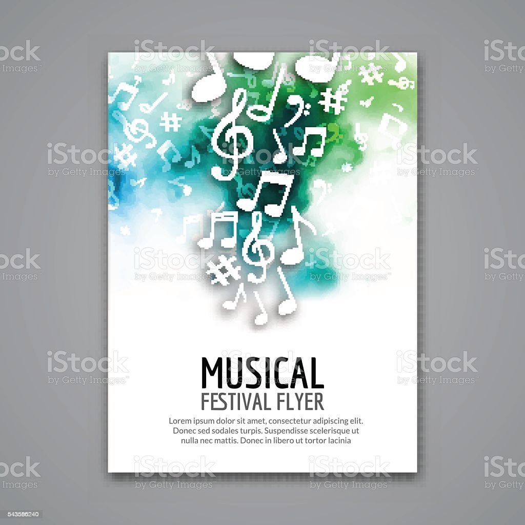 Colorful vector music festival concert template flyer. Musical  design poster vector art illustration