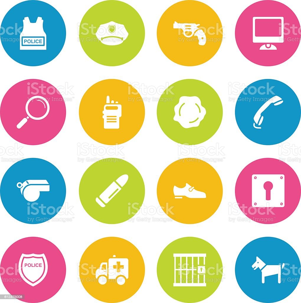 Colorful Vector Police Icons - 16 Icons vector art illustration