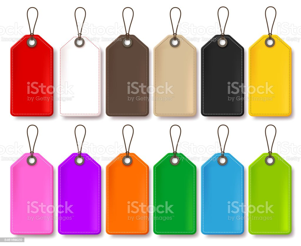 Colorful Vector Price Tags Collection Isolated in White Background vector art illustration